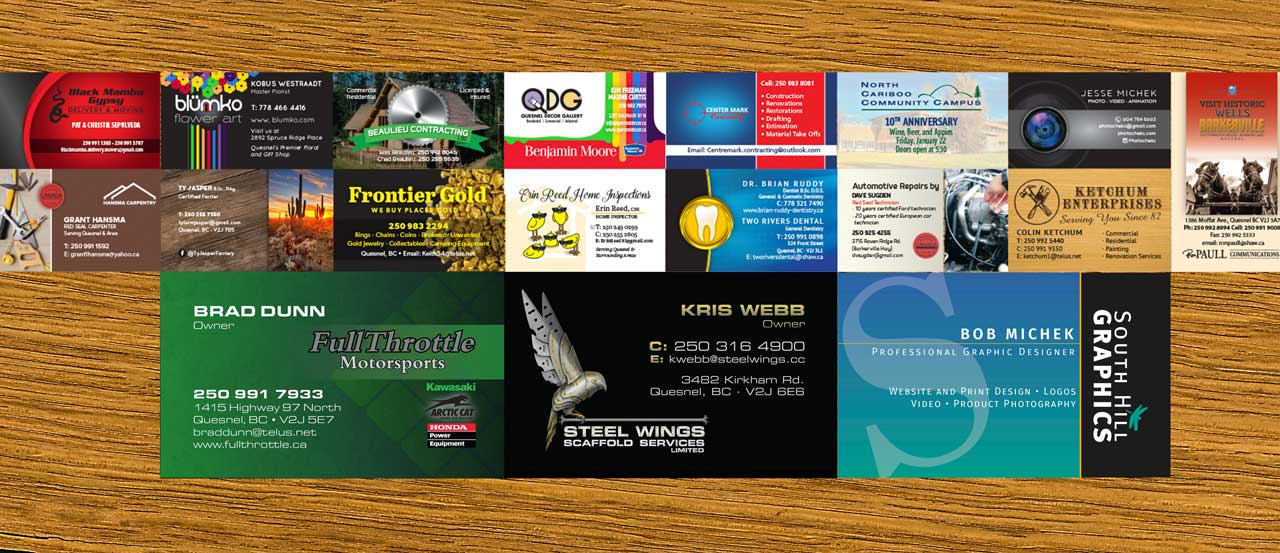South Hill Graphics - Professionally curated Business Cards for Quesnel, Williams, Lake, Prince George, Vanderhoof